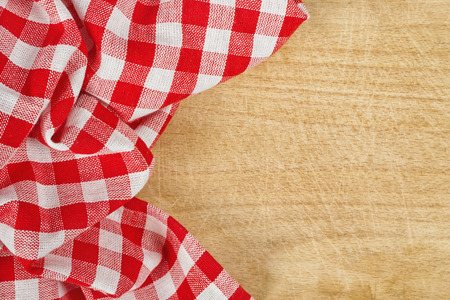 fabric: Checkered Tablecloth Textile on Wooden Background Texture