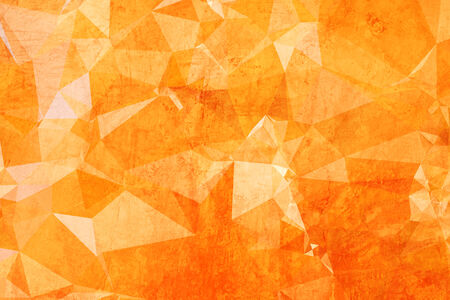 triangular shape: Modern Graphic Low Poly Orange Triangular Polygons over Grunge Texture as Abstract Background Pattern