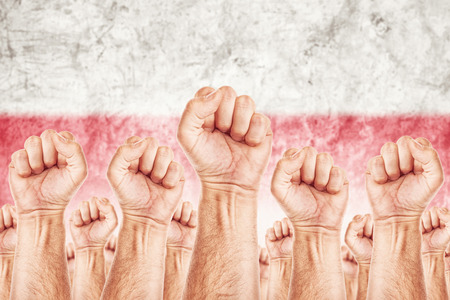 syndicate: Poland Labour movement, workers union strike concept with male fists raised in the air fighting for their rights, Polish national flag in out of focus background.
