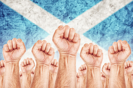 boycott: Scotland Labour movement, workers union strike concept with male fists raised in the air fighting for their rights, Scottish national flag in out of focus background.