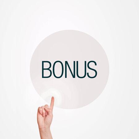 commision: Female finger pressing Bonus button on touchscreen virtual display.