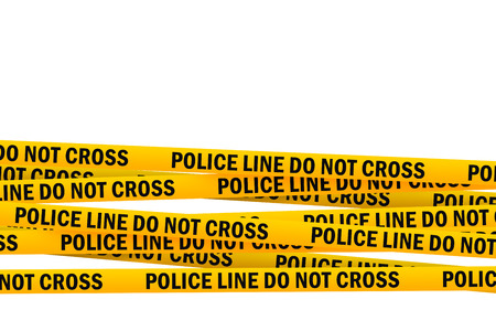 restrictive: Police Line Do Not Cross Yellow Headband Tape isolated on white Background with Clipping PAth