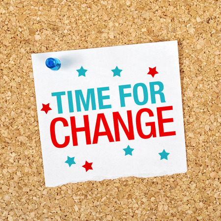 turnaround: Time For Change Motivational Reminder Note Pinned to a Cork Memory Bulletin Board. Stock Photo