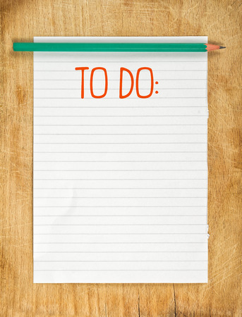 Blank To Do List with Pencil on Wooden Table Stock Photo
