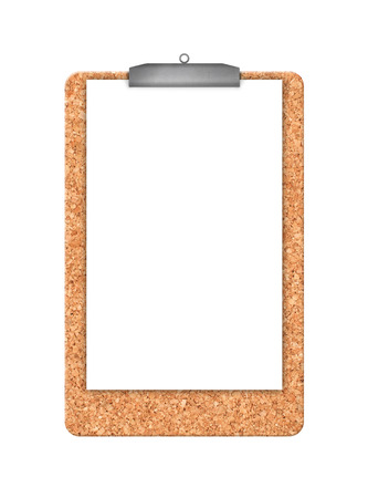 paper hanger: Cork memory board and piece of white blank paper with hanger as copy space isolated on white background