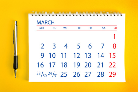 spiral binding: March Paper Calendar Page with Spiral Binding as Time Management and Schedule Concept. Stock Photo