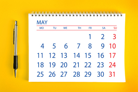 spiral binding: May Paper Calendar Page with Spiral Binding as Time Management and Schedule Concept.
