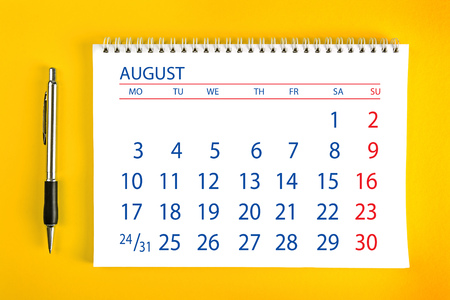spiral binding: August Paper Calendar Page with Spiral Binding as Time Management and Schedule Concept. Stock Photo