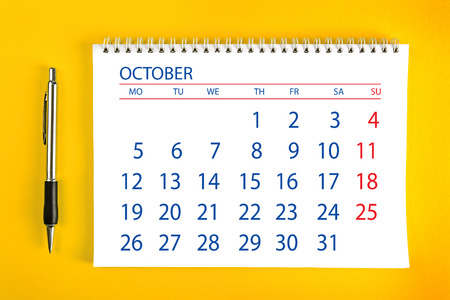 spiral binding: October Paper Calendar Page with Spiral Binding as Time Management and Schedule Concept.