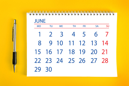 spiral binding: June Paper Calendar Page with Spiral Binding as Time Management and Schedule Concept.
