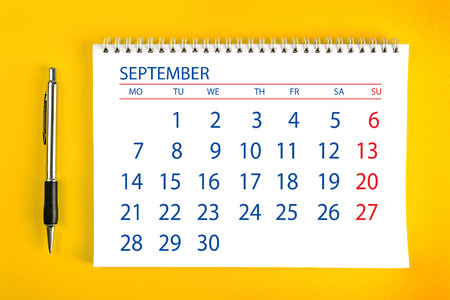 spiral binding: September Paper Calendar Page with Spiral Binding as Time Management and Schedule Concept.