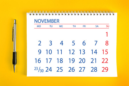 spiral binding: November Paper Calendar Page with Spiral Binding as Time Management and Schedule Concept.