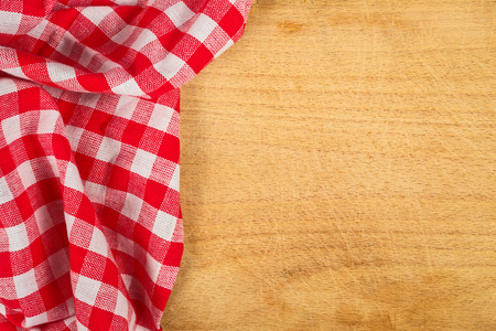 Checkered Tablecloth Textile on Wooden Background Texture