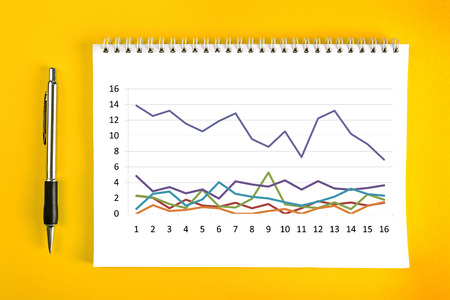 binding: Business Chart Analysis, Financial Graph on Notebook with Spiral Binding on Yellow Background.