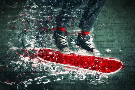 skate board: Urban Skateboarder jumping on doodle sketched skate board. Stock Photo