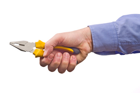 combination: Male worker holding combination pliers