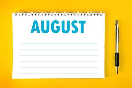 spiral binding: August Paper Calendar Blank Page with Spiral Binding as Time Management and Schedule Concept.