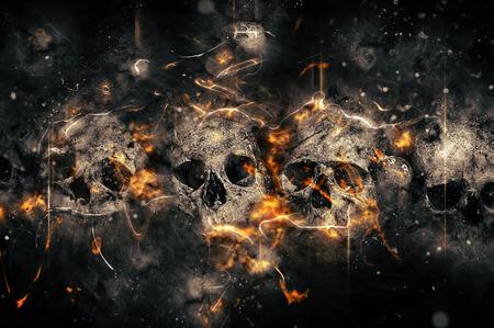 Skulls And Bones as Conceptual Spooky Horror Halloween image. Banque d'images