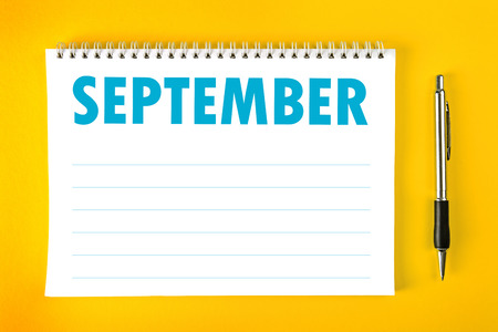 spiral binding: September Paper Calendar Blank Page with Spiral Binding as Time Management and Schedule Concept.