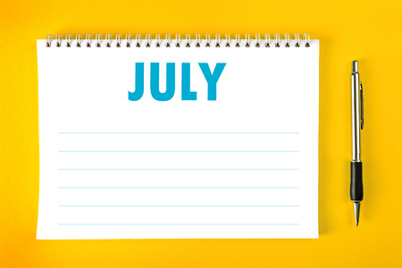 spiral binding: July Paper Calendar Blank Page with Spiral Binding as Time Management and Schedule Concept.