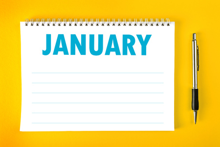 spiral binding: January Paper Calendar Blank Page with Spiral Binding as Time Management and Schedule Concept.