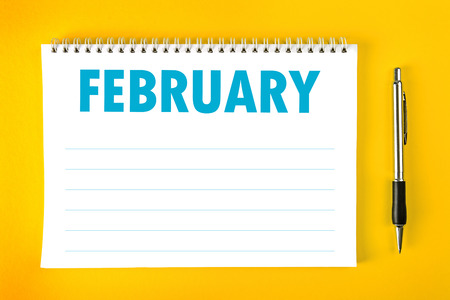 spiral binding: February Paper Calendar Blank Page with Spiral Binding as Time Management and Schedule Concept.