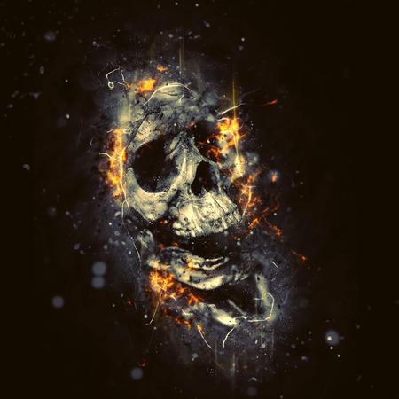 概念の不気味なホラー ハロウィン イメージとして炎のスカル。