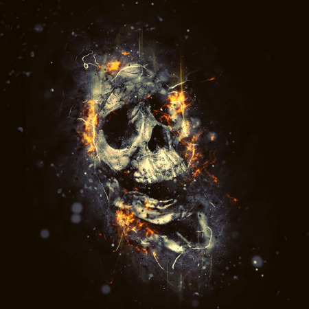 Schedel in Vlammen Conceptueel beeld Griezelig Halloween Horror zo. Stockfoto