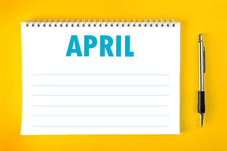 spiral binding: April Paper Calendar Blank Page with Spiral Binding as Time Management and Schedule Concept.