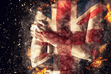 britain flag: British man with Great Britain Flag painted on his body as Patriotism and national team support concept.