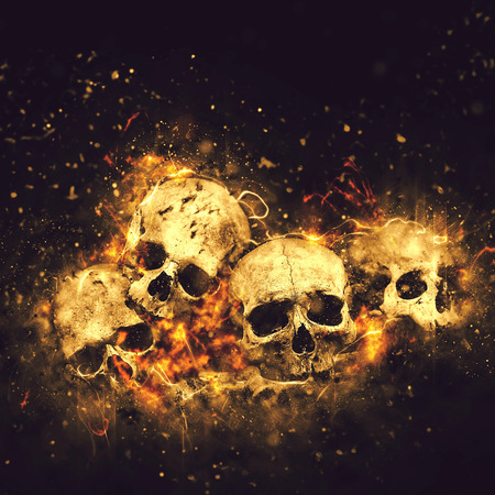 horrors: Skulls And Bones as Conceptual Spooky Horror Halloween image. Stock Photo