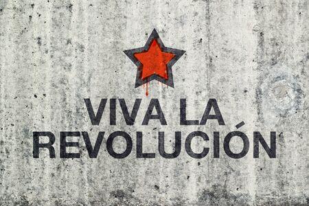 parole: Viva La Revolucion Graffiti on Gray Cement Street Wall, Revolution Concept.