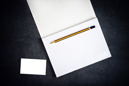 Blank Corporate Business Card and Notebook with Graphite Pencil as Copy Space for Branding