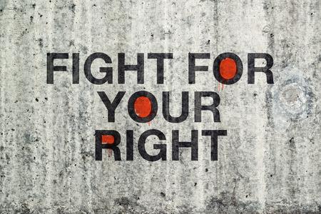 deliverance: Fight For Your Right Grafitti on Cement Concrete Wall.