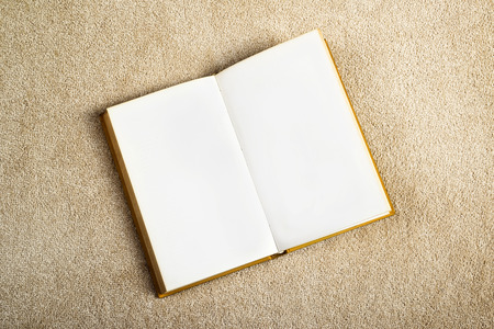 thesaurus: Vintage Book with Blank Pages as Copy Space on the New Beige Carpet Floor Stock Photo