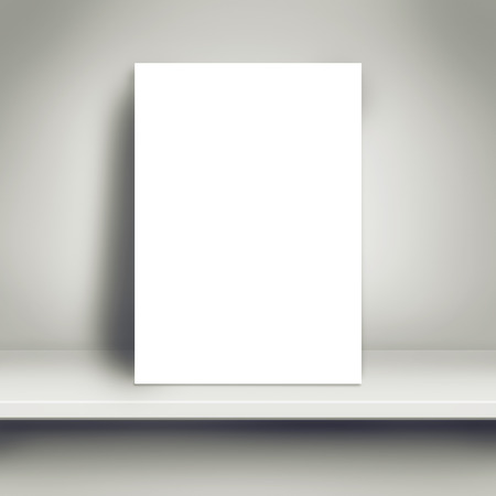 Blank White Paper Poster Leaning on White Shelf in the Room as Copy Space for Design and Template Mock up for Adding Your Text.