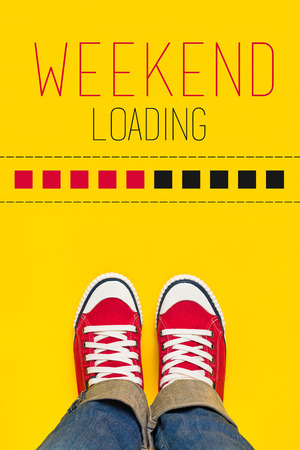 Weekend Loading Content with Young Person Wearing Red Sneakers from Above Standing in front of Loading Progress Bar, wainting for the End of the Week