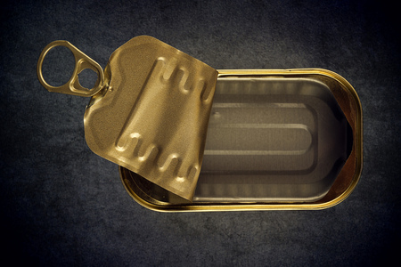 sardine can: Open Empty Sardine Fish Tin Can on Grunge Gray Background, Top View Stock Photo