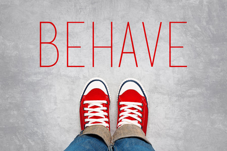 behave: Behave Reminder for Young Person in Red Sneakers about to make a Step and Join the Party, Top View.