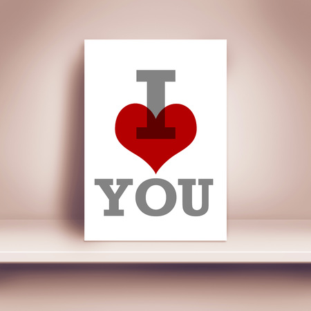 adore: I Love You Romantic Poster on Shelf in The Room