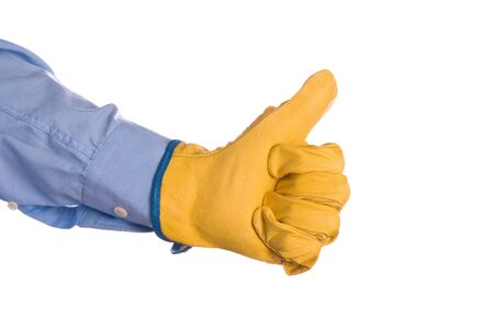 credential: Construction Engineer Wearing Yellow Leather Protective Gloves Gesturing Thumbs Up for Approval, isolated on white background