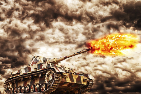 military invasion: Military Tank firing with dark storm clouds in background, concept of war and conflict.