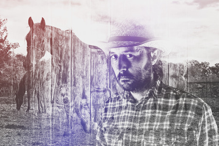stockman: Bearded Cowboy Farmer wearing Straw Hat on Western American Horse Ranch, Double Exposure Image.