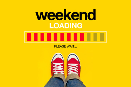 weekends: Weekend Loading Content with Young Person Wearing Red Sneakers from Above Standing in front of Loading Progress Bar, waiting for the End of the Week, Top View