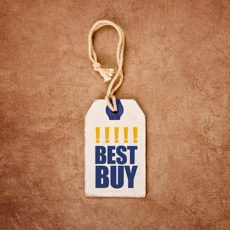 recommendation: Vintage Price Tag Label with Best Buy Title for Shopping Recommendation Concept, Top View, Filtered and Toned image