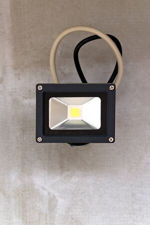 outdoor lighting: Outdoor LED Lighting mounted on gray concrete wall. Stock Photo