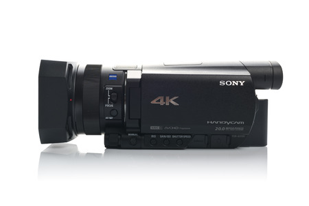 cmos: NOVI SAD SERBIA  APRIL 25 2015: Sony FDR AX100 4k Handycam Camcorder announced in 2014. captures Ultra High Definition Footage. Illustrative editorial for product isolated on white background.