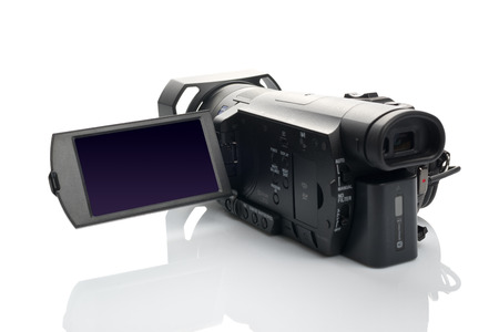 footage: NOVI SAD SERBIA  APRIL 25 2015: Sony FDR AX100 4k Handycam Camcorder announced in 2014. captures Ultra High Definition Footage. Illustrative editorial for product isolated on white background.