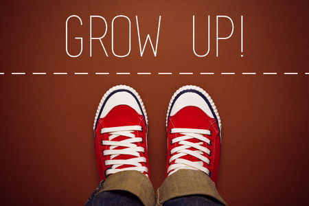 Grow Up Reminder for Young Person in Red Sneakers about to make a Step and Join the Party, Top View