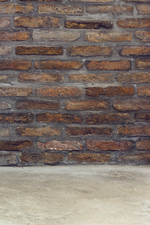 product placement: Brickwall Texture with Concrete Floor as Background for Product Placement Mockups